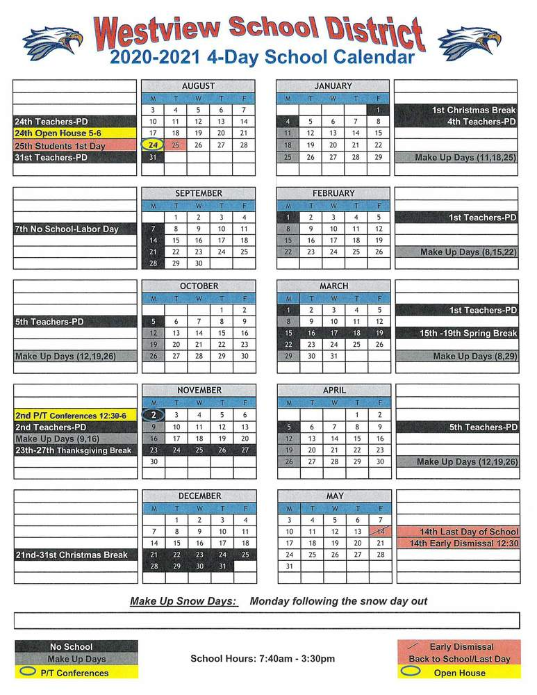 Proposed 2020-2021 4-Day Calendar