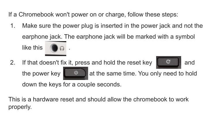 Chromebook Reset Instructions