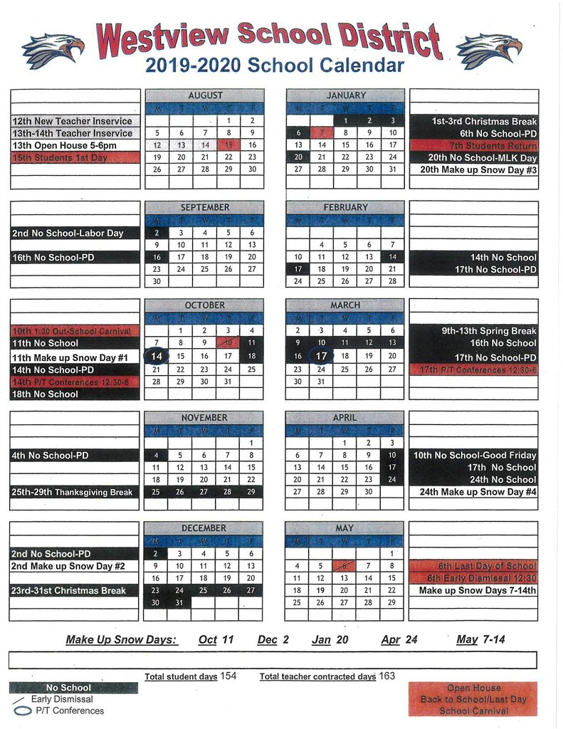 An image of Westview School District 2019-2020 calendar