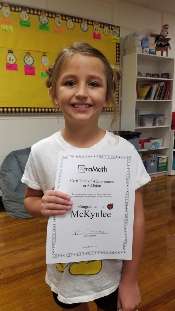 McKynlee Wilson completed her addition fact mastery and received a certificate today. She correctly answered all of her addition facts in 3 seconds or less. She will now begin working on subtraction.