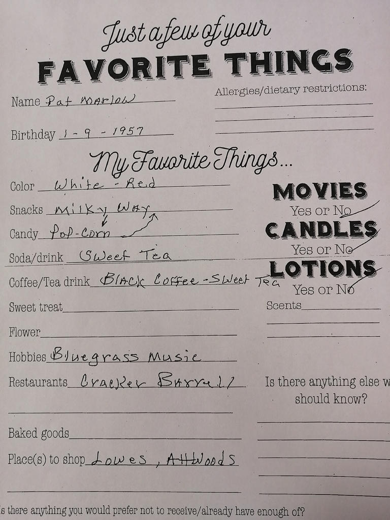 His favorite things